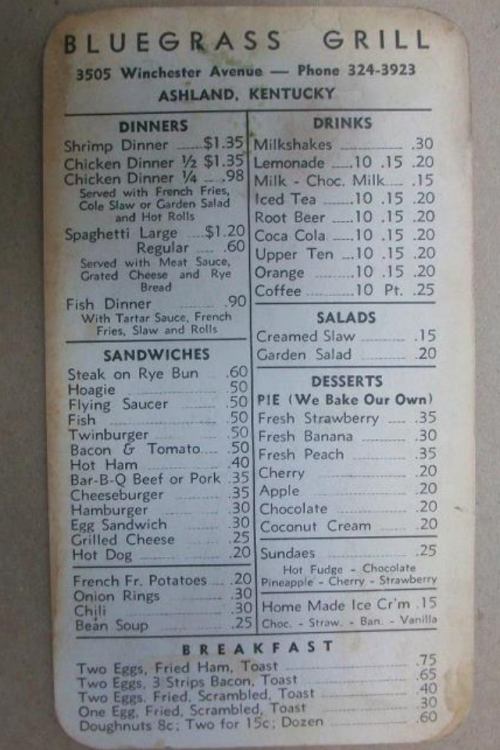 MENU CARD FROM THE BLUEGRASS GRILL  1959